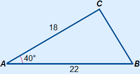 Triangle with a=? b=18 c=22 and α=40°