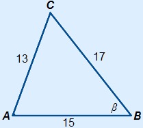 Triangle with a=17 b=13 c=15