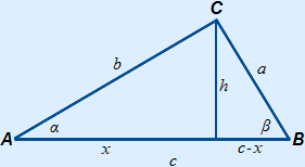 Triangle ABC with altitude h from C drawn, c is divided into x left of the altitude and c-x to the right of the altitude