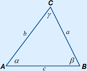 Triangle with letters at correct location as shown below