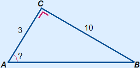 Triangle with adjacent 3 and opposite 10