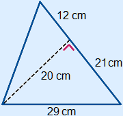 A triangle in wich three lengths are given. A sides of 29 and a side of 33 cm. The altitude from a vertex is 20 cm long and cuts the 33 cm side in two parts measuring 12 and 21.