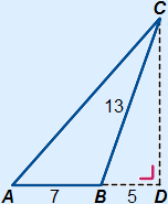 Obtuse-angled triangle ABC with AB=7, BC=13, BD(extension of AC)=5 and the altitude/height from C intersects AB in point D