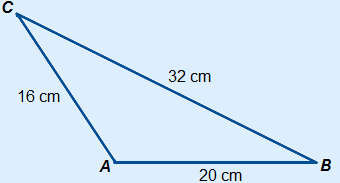 Triangle ABC with AB=20 cm, BC=32 cm and AC=16 cm