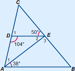 the triangle described above, line AE is also drawn