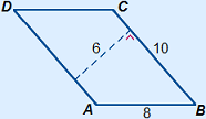Parallelogram with sides of 10 and 8 and a height of 6 drawn perpendicular on the side of 10