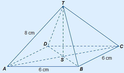 Pyramid ABCD.T with height ST drawn. S is the middle of the base.