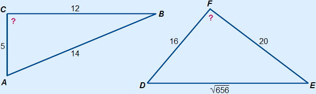Triangle ABC with AB=14, BC=12 and AC=5 and triangle PQR with DE=square root(656), EF=20 and DF=16