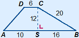 Trapezium ABCD in which CS is the height, perpendicular to AB. AS=10, BS=16, BC=20, CD=6 en CS=12