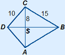 Kite ABCD with S as intersection of the diagonals. BC=15, CS=8 en CD=10